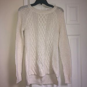 white cream cable knit sweater